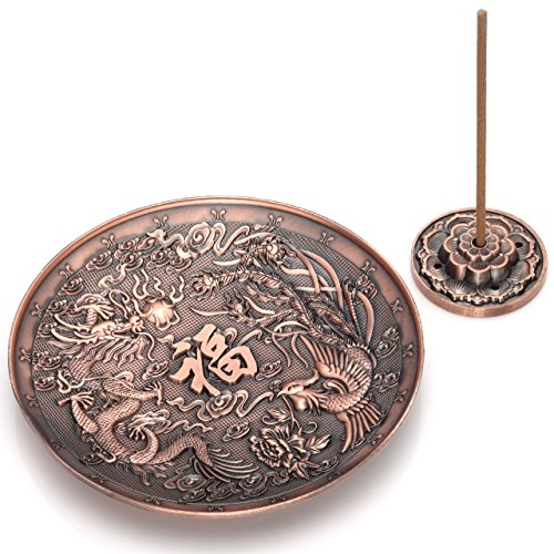 Top Plaza Brass Incense Holder - Red Copper Dragon and Phoenix Stick Incense Burner and Cone Incense Holder Ash Catcher