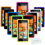 HTC Windows 8X Case Bundle including 10 Flexible Silicone Rubber Covers for HTC Windows 8X Phone and 1 ECO-FUSED Microfiber Cleaning Cloth (White, Black, Green, Blue, Purple, Red, Orange, Yellow, Hot Pink, Pink), Best Gadgets