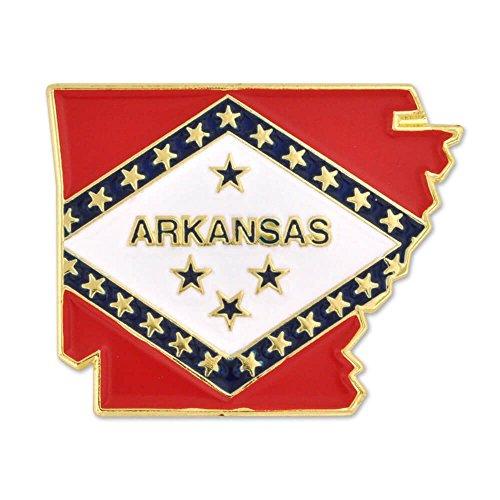 PinMart State Shape of Arkansas and Arkansas Flag Pin 1-1/8