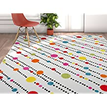 Modern Rug Dandy Dots And Stripes Ivory 3'3''X5' Accent Area Rug Entry Way Bright Kids Room Kitchn Bedroom Carpet Bathroom Soft Durable Area Rug