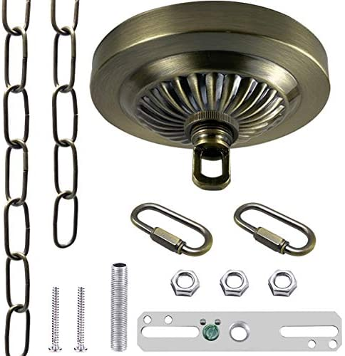 ECUDIS Light Fixture Canopy Kit, 5 Inches Diameter and six Feet Pendant Light Chain Includes Mounting Hardware for Chandelier or Swag Light Fixtures, Max Fixture Load of fifty Pounds (Antique Brass)