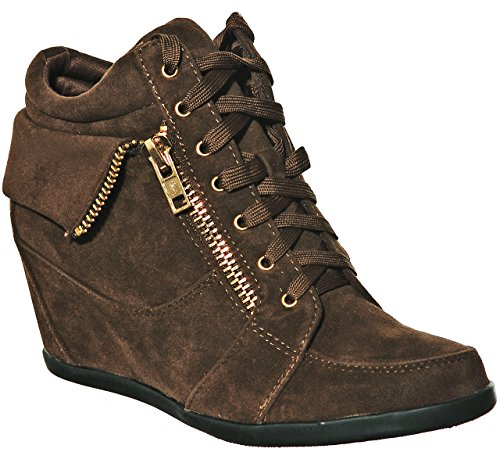 Fashion Women's Hi Top Sneakers Lace shoewhatever Pl Browngl up Wedge 6vqq4