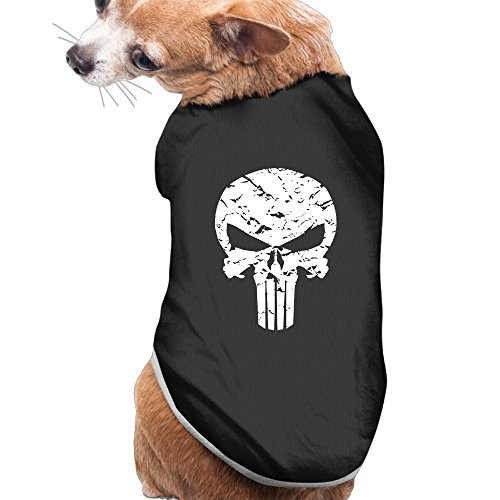 Punisher Logo Summer Costumes, Clothing, Shirt, Vest, T-shirt, Puppy Pet Dog Cat Fashion 100% Polyester Fiber Tee Gift For Any Animal Fan Lovers Black -