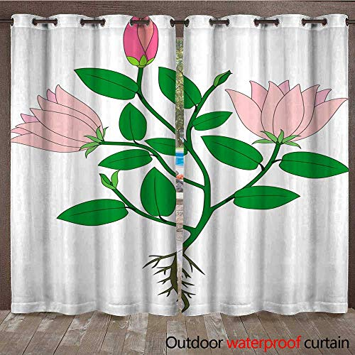 RenteriaDecor Outdoor Balcony Privacy Curtain Plant with Pink Flowers and Root System W72 x L84
