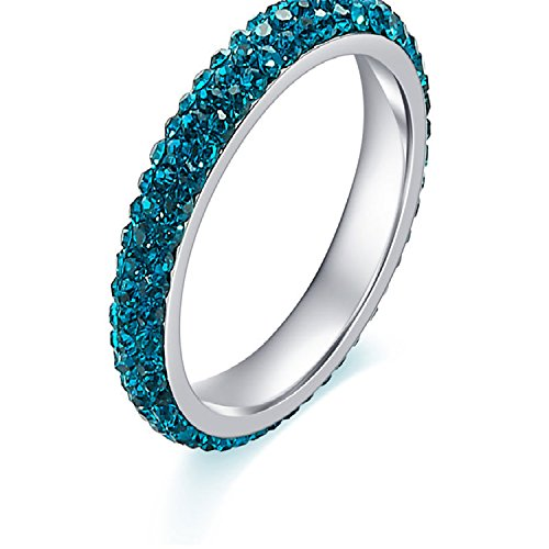 spyman Full Size Three Row Clear Blue Crystal Stainless Steel Wedding Rings Fashion Jewelry Made With Genuine CZ Crystals (Lord Of The Rings The Third Age Xbox)
