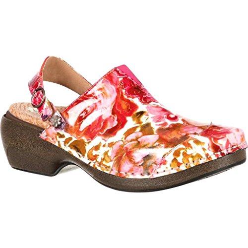 Clog Patent Memory RKH053 Red Print 4EurSole Womens Work Rose Shoes PwwXqtY