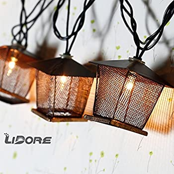 Amazon lidore 10 counts vintage bronze iron nets lanterns lidore 10 counts vintage bronze iron nets lanterns plug in string lights great for mozeypictures Gallery