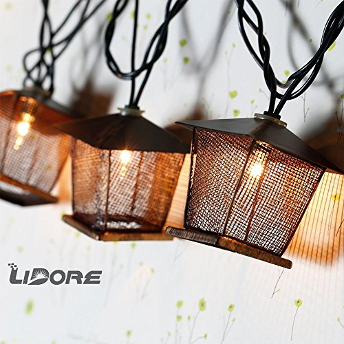 Outdoor Lantern String Lights Bronze - 1
