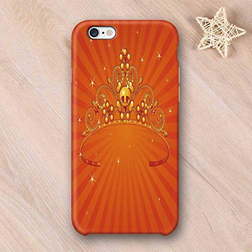 Queen Frosted & Smooth Surface Compatible with iPhone Case,Fancy Halloween Princess Crown with Little Skull Daisies on Radial Orange Backdrop Stars Decorative Compatible with iPhone 7/8 Plus,iPhone 6