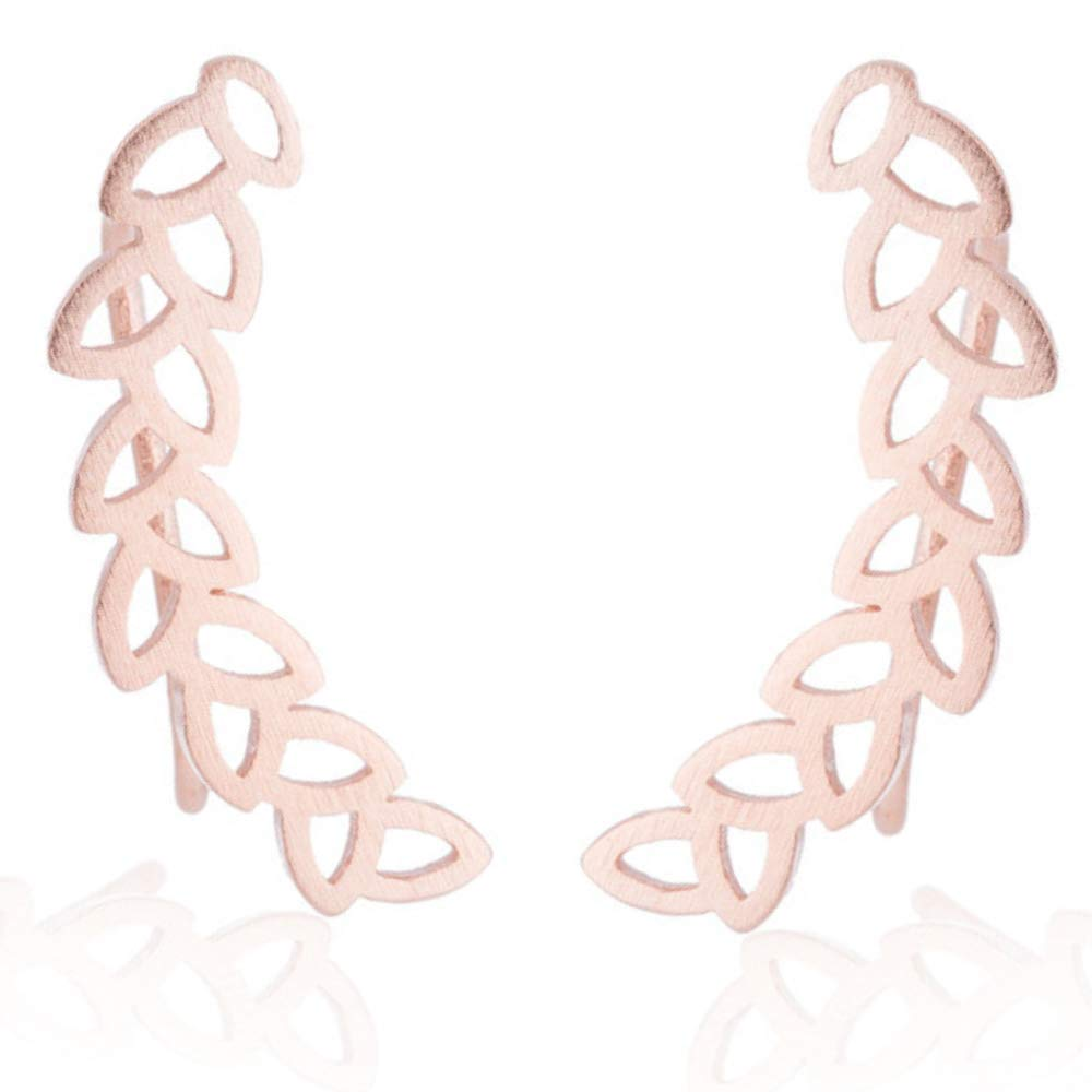 Leaf Ear Climbers Feather Earrings Ear Cuff Crawlers Bohemian Jewelry Gold Silver Soul Statement B07G5NJNXH/_US