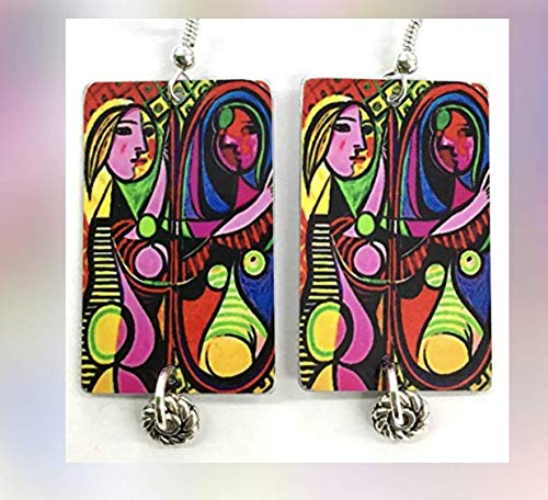 (Picasso, Girl Before a Mirror, Sterling Silver French Hook Ear Wires, Picasso Earrings, Metal and Glass, Designed and Handmade by Artist, Patti Siehien)