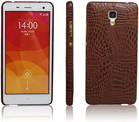 zl one Funda Xiaomi Mi4 PU Cuero Patrón Cocodrilo Bumper Back Case Cover (Marrón)