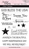 Stamp Simply Clear Stamps Patriotic American Sentiments Veterans, Stars and Stripes and More 4x6 Inch Sheet - 12 Pieces