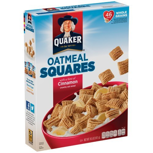 - Quaker Oatmeal Squares Cereal, Cinnamon, 14.5-Ounce Boxes (Pack of 2)