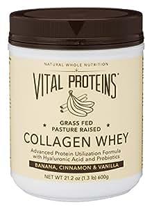 Vital Proteins Pasture-Raised, Grass-Fed Collagen Whey (Banana Cinnamon Vanilla), 21 oz Canister