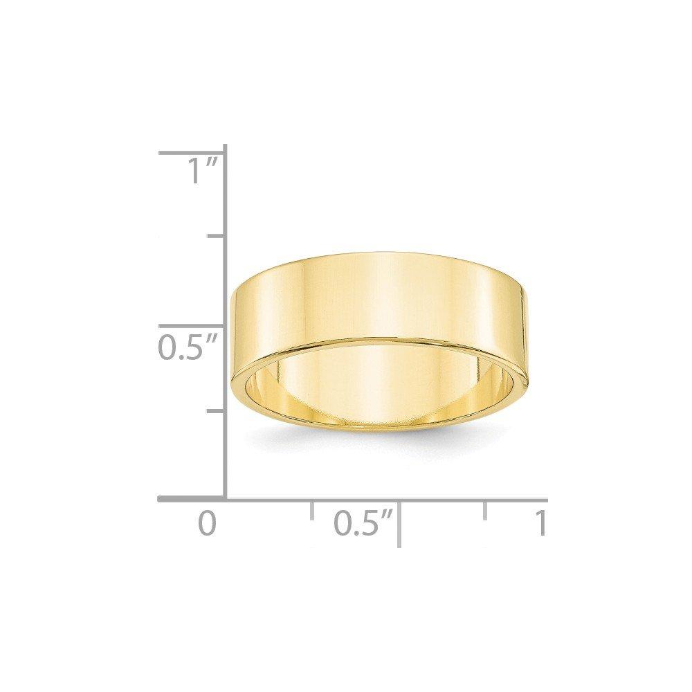 10K Yellow Gold 7mm Lightweight Flat Band Ring