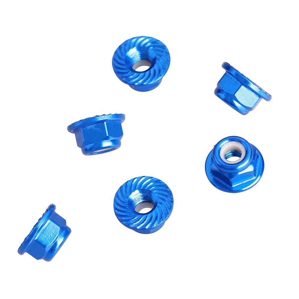ZSJ 50pcs/pack Flange Serrated Hex Aluminum Nylon Lock Nut for M5 Screw Multicopter Drone RC Model (Blue) by ZSJ (Image #4)