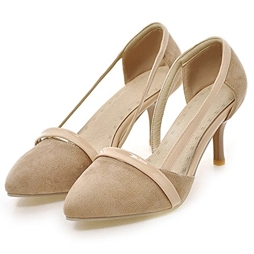 Party Heel TAOFFEN Women Dress Stylish Court apricot Slip High On D'orsay Shoes 1tYqt