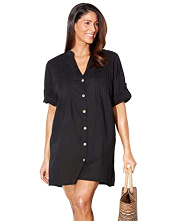 80ffe86895f4 Swimsuits for All Women's Plus Size Button Up Shirt Swimsuit Cover Up 6  Black