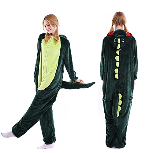 Adult Dinosaur Pajamas, Plush One Piece Cosplay Kangaroo Dinosaur Animal Costume Holloween Christmas Onesies Cozy Homewear for Women Men Teens Girl(M) -