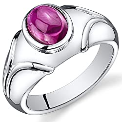 Ruby Cabochon Sterling Silver Rhodium Nickel Finish 3.00 Carats Ring