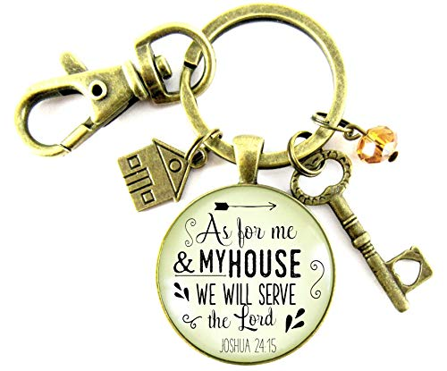 Jewelry Vintage Retro Estate (As For Me and My House We Will Serve The Lord Necklace Faith Inspired Mom Jewelry For Women House Key Charm)