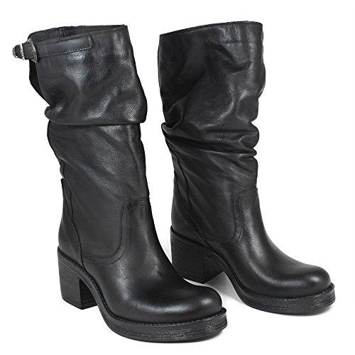 Stivali Italy In 0294 Vera Tacco Time metà Boots Nero in Polpaccio in Nero Biker Made Pelle Donna Arricciati a8xB5wq8r