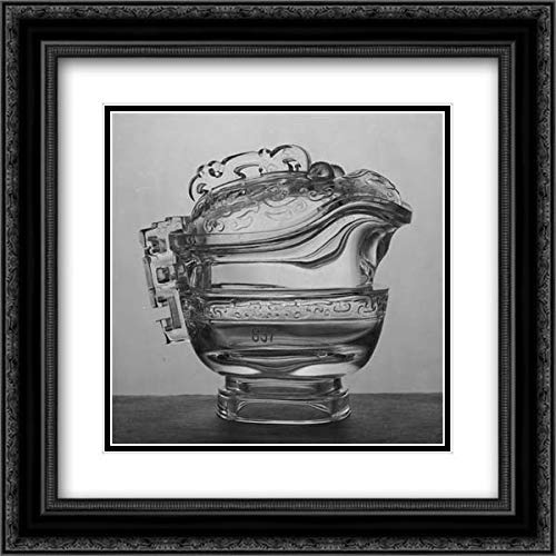 China Culture - 20x20 Black Ornate Frame and Double Matted Museum Art Print - Covered Vessel in The Shape of an Ancient Ritual Bronze