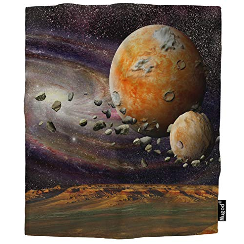 Mugod Planetary Blanket Mountains Earth View from Space Alien Planet Asteroid Belt Fuzzy Soft Cozy Warm Flannel Throw Blankets Decorative for Boys Girls Toddler Baby Dog Cat 40X50 Inch ()