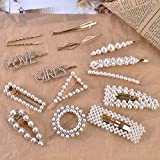 15 PCS Hingwah Pearl Hair Clips Hair Barrettes, Gold Word Letter Jewelry, Rhinestones Crystal Hair Bobby Pins, Fashion Party, Birthday, Wedding Gifts, Bling Geometric Hair Accessories for Women Girls