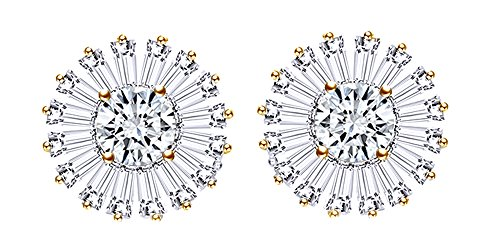 Circle Flower Paved With Cubic Zirconia Stud Earrings 14k Yellow Gold Over Sterling Silver