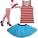 NEW GIRL/'S WOMEN/'S RED /& WHITE STRIPS SHIRT KIT HEN PARTY COSTUME BOOK WEEK DAY