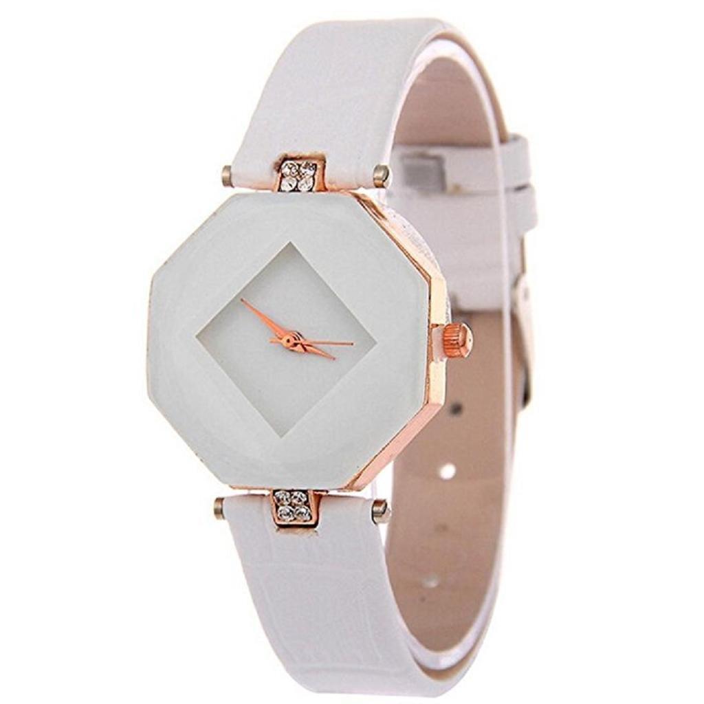 Noopvan Clearance Deal Watch, Women Fashion Octagon Rhinestone Simple Dress Quartz Wristwatch (White)