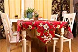 ROGEWIN Table Runner Rural Style Reusable No Fade Silky Tassels Floral Print Placemat for Wedding Hotel Bar Decoration
