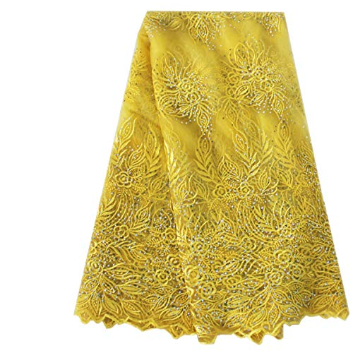 Lacerain 5 Yards African Lace Fabric Nigerian French Mesh Tulle Lace Fabrics Material Embroidery and Rhinestones Trim for Party Wedding Dress Skirt (Yellow)