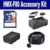 Samsung HMX-F80 Camcorder Accessory Kit includes: KSD2GB Memory Card, SDC-26 Case, SDIABP210E Battery, SDM-1524 Charger