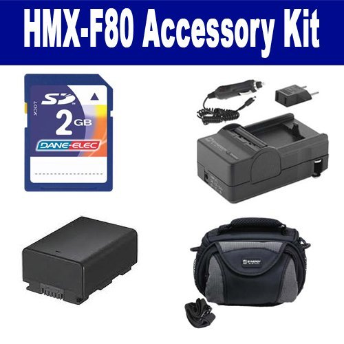 Samsung HMX-F80 Camcorder Accessory Kit includes: KSD2GB Memory Card, SDC-26 Case, SDIABP210E Battery, SDM-1524 Charger by Synergy Digital