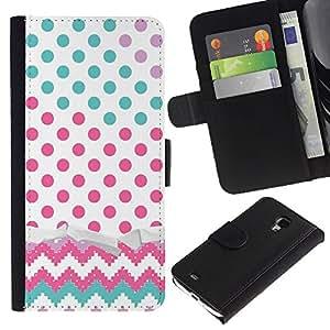 KingStore / Leather Etui en cuir / Samsung Galaxy S4 Mini i9190 / Dot Chevron del trullo Rosa