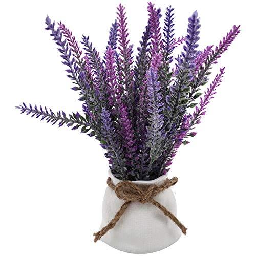 Artificial Plants Purple Lavender Greenery – Rustic Farmhouse Accent Decor Faux Flower Planter with Ceramic Sack Pot…