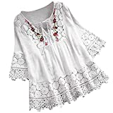 Aniywn Women Round Neck Lace Up Lace Patchwork Flare Pullover Top Casual Plus Size 3/4 Sleeve Floral Printed T-Shirt White