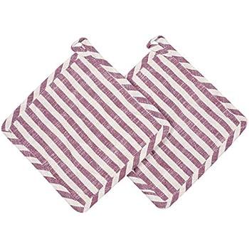 Cote De Amor Set of 2 Pot Holders Bulk Heat Resistant and Machine Washable, 100% Pure Cotton Farmhouse Stripe Kitchen Hot Pads Pot Holders Purple