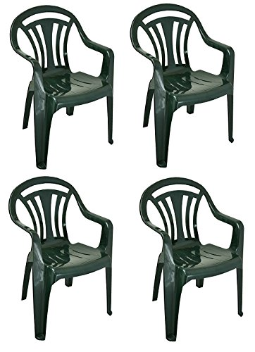 PLASTIC CHAIR LOW BACK PLASTIC PATIO GARDEN CHAIR PACK OF 4 GREEN