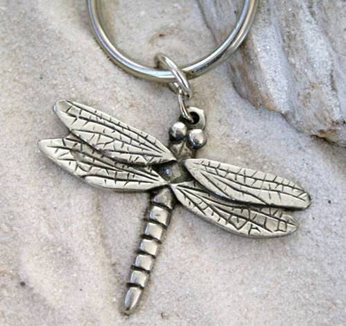 (DRAGONFLY Pewter KEYCHAIN Key Ring CHAIN )