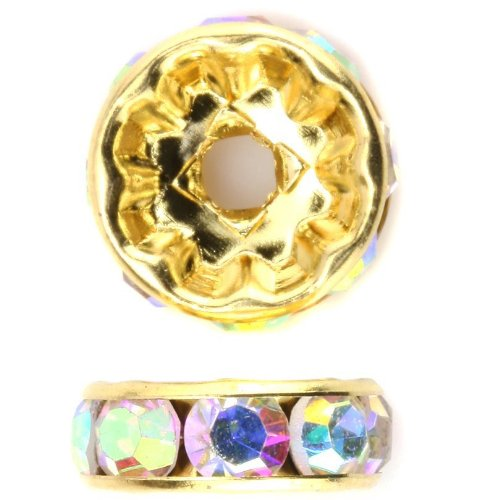 ed Copper Rondelle Spacer Bead Clear AB Swarovski Crystal 4mm 5mm 6mm 8mm 10mm 12mm (Gold Plated Rondelle Crystal)
