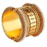 Efulgenz Fashion Jewelry Indian Bollywood Antique Gold Plated Faux Pearl Coin Style Bracelet Bangle (1 Piece) Women