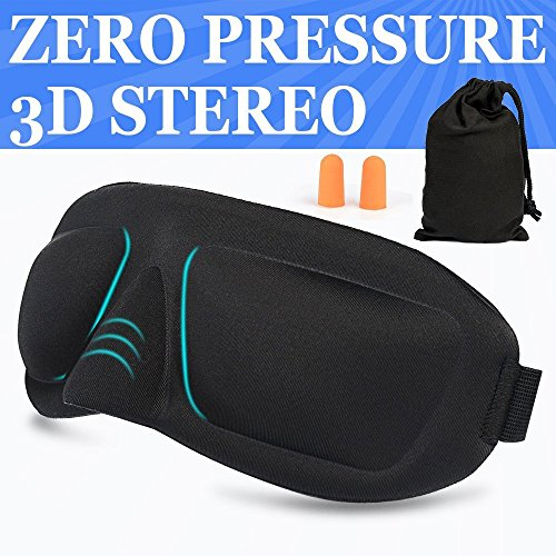 AMAZKER 3D Sleep Mask and Ear Plugs with Large Eye Cavities