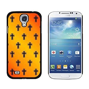 New style Crosses on Parade Christian Orange Snap-On Hard Protective Case for Samsung Galaxy S4 - Non-Retail Packaging - Black