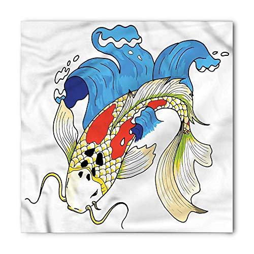 (Koi Fish Bandana, Mystical Koi Carp Waves, Unisex Head and Neck Tie,39.339.3inch)