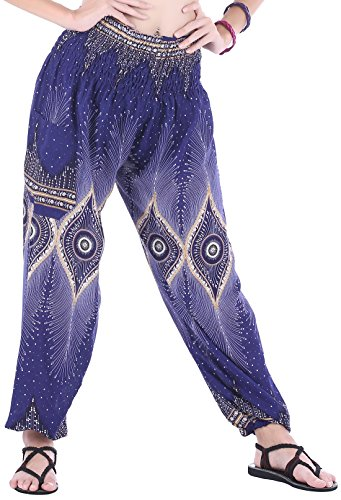CandyHusky Womens Print Baggy Genie Aladdin Hippie Boho Yoga Harem Pants Costume (One Size Regular, Floral Eye Blue)]()