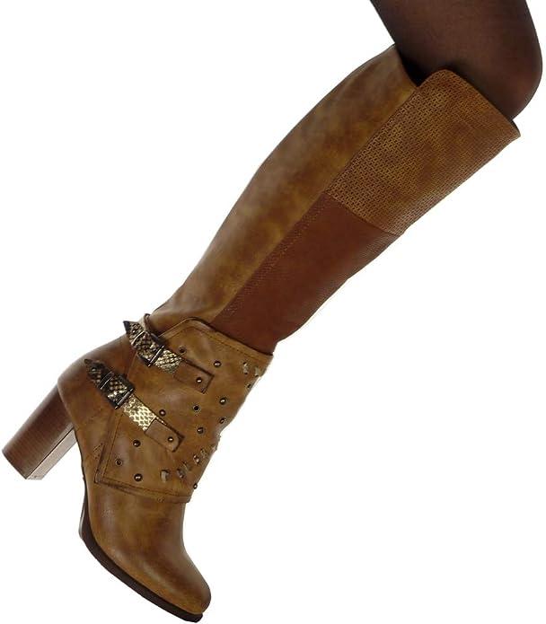 Angkorly Chaussure Mode Cuissarde Botte Cavalier Motard Souple Femme clouté Peau de Serpent Boucle Talon Haut Bloc 8 CM Intérieur Fourrée